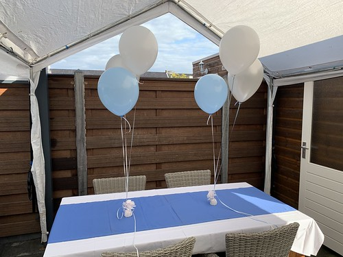 Tafeldecoratie 3ballonnen Lichtblauw Zilver Wit