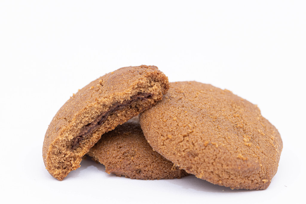 Tasty Chocolate Biscuit cookies on the white background
