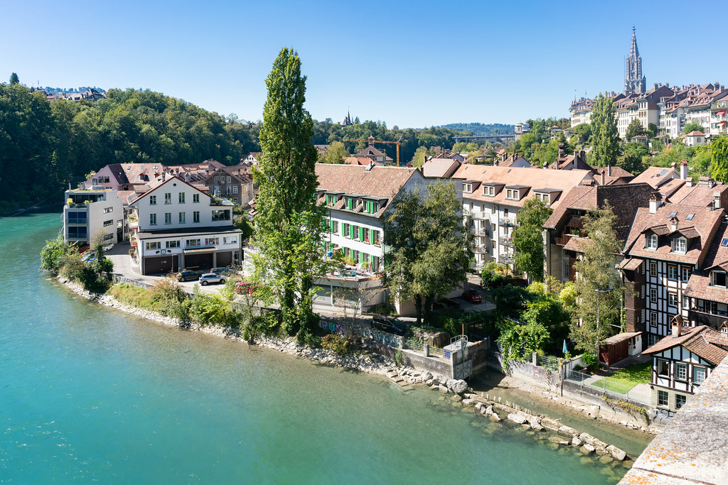 View of Bern houses on the river Aare