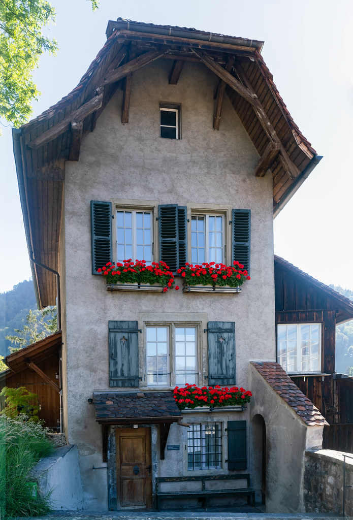 Authentic old 3 story Swiss building