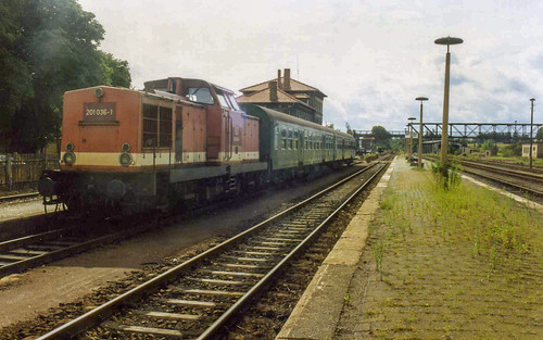 201036 stands at Querfurt having just arrived on the 1430 from Merseberg, 29 August 1995
