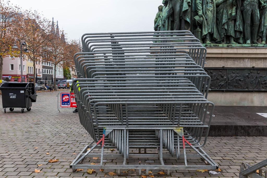 Crowd control barriers at Heumarkt in Cologne. 11.11.20 without the traditional public carnival events