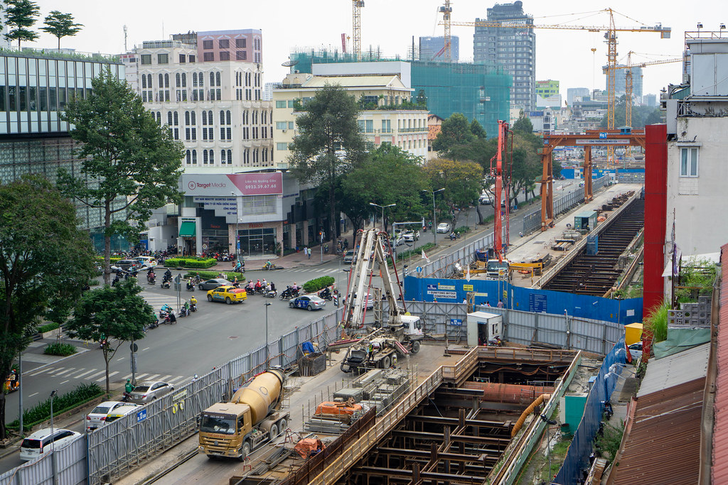 Construction of Ho Chi Minh City Metro on a Street leading to Ben Thanh Market Central Station in Saigon, Vietnam