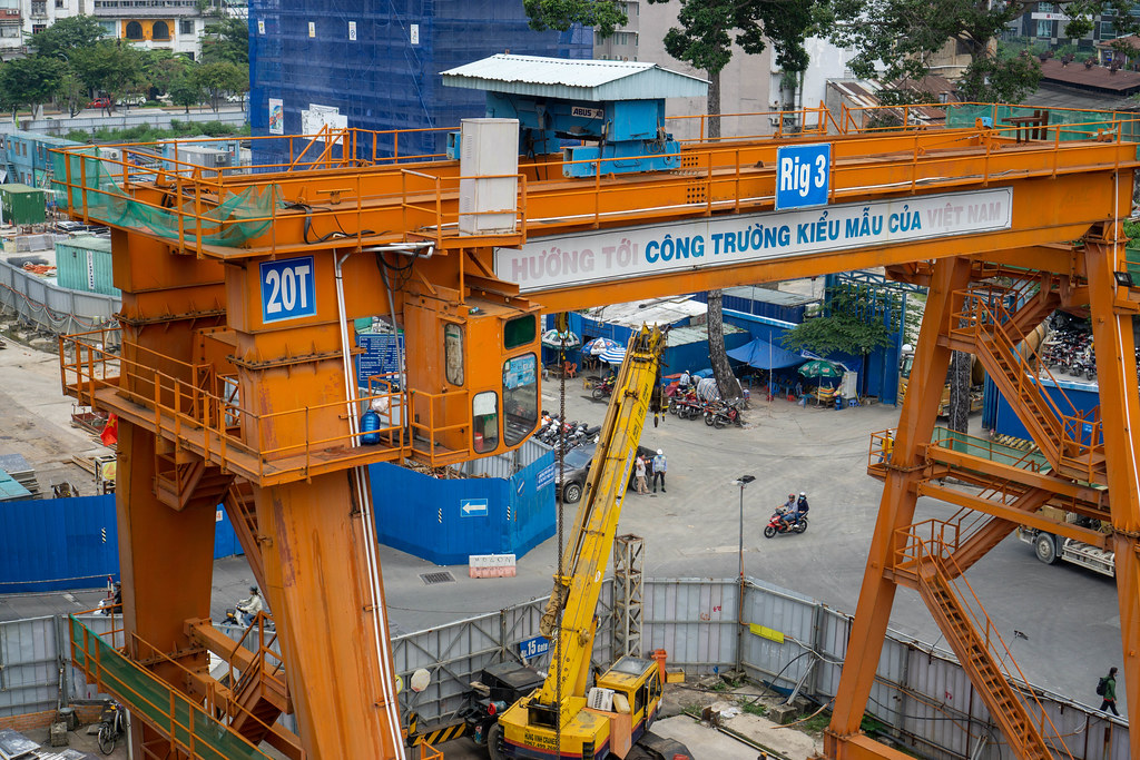 Intersection of Pasteur and Le Loi Street with the ongoing Ho Chi Minh City Metro Construction in Saigon, Vietnam
