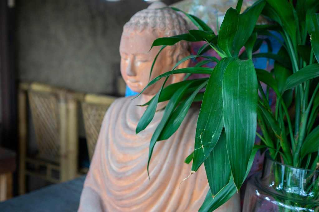 Large Sitting Buddha Statue behind Plants as Decoration in a Vietnamese Restaurant