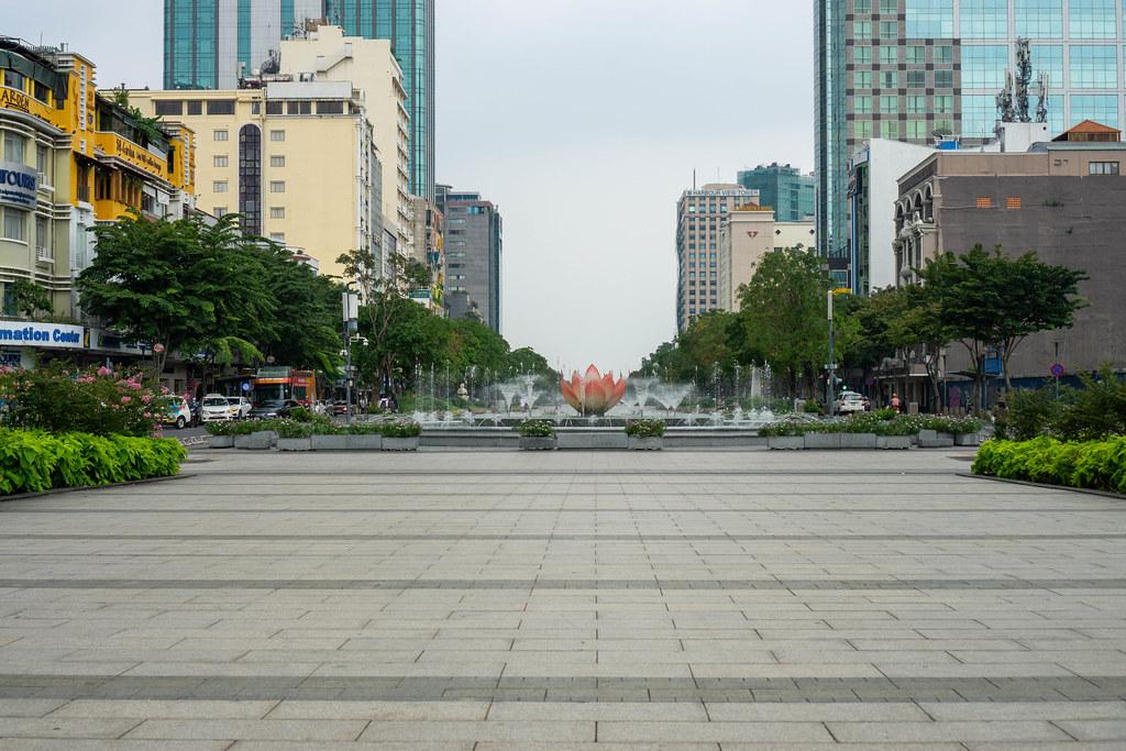 Lotus Flower Water Fountain at Nguyen Hue Walking Street without People in Saigon, Vietnam