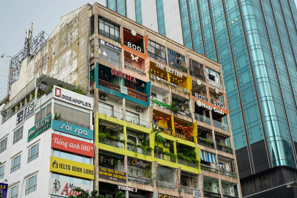The Cafe Apartment Building with many different Cafes, Restaurants and Shops in Ho Chi Minh City, Vietnam