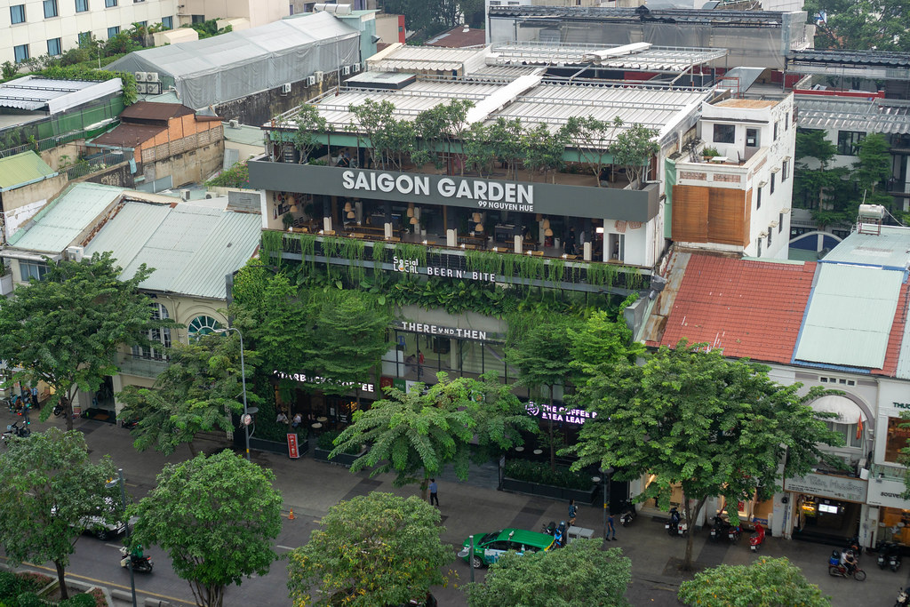 Saigon Garden Building with Starbucks Coffee and other Shops and Cafes at Nguyen Hue Walking Street in Ho Chi Minh City, Vietnam
