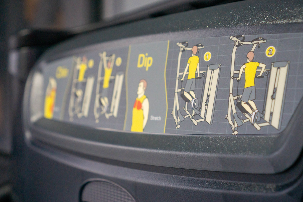 Close Up Photo of a Instruction of an Assisted Dip and Pull Up Machine in a Fitness Center