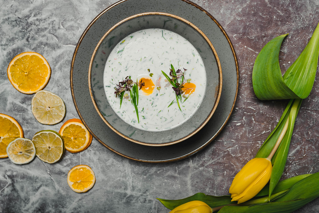 Okroshka - Traditional Russian Cold Soup With Fresh Cucumber, Boiled Eggs And Dill