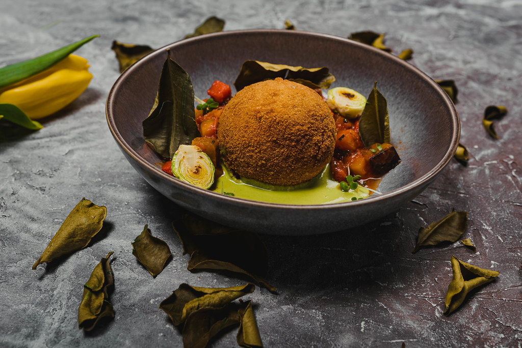 Falafel Ball With Veggie Sauce And Bay Leaves
