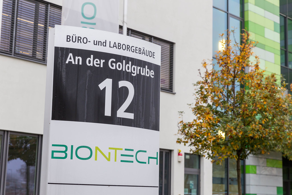 Close-Up Photo of Information Signboard of BioNTech Corporate Headquarters Office and Laboratory Buildings with Address An der Goldgrube 12 in Mainz, Germany