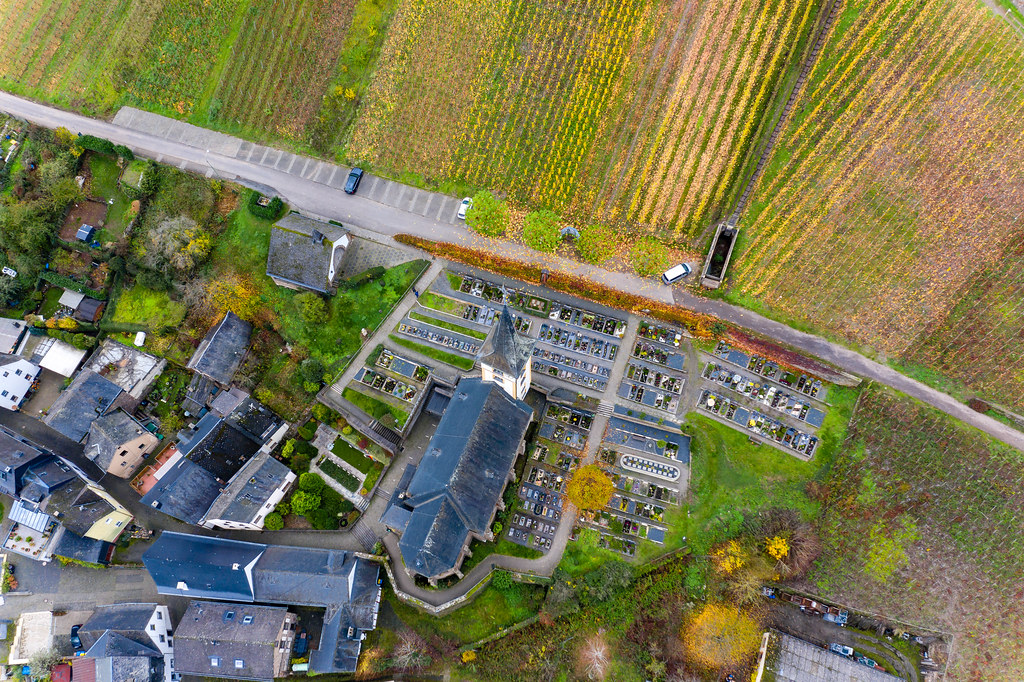 Bird View Photo of Saint Lawrence Church and Vineyards in Municipality Bremm in Cochem-Zell district in Rhineland-Palatinate, Germany