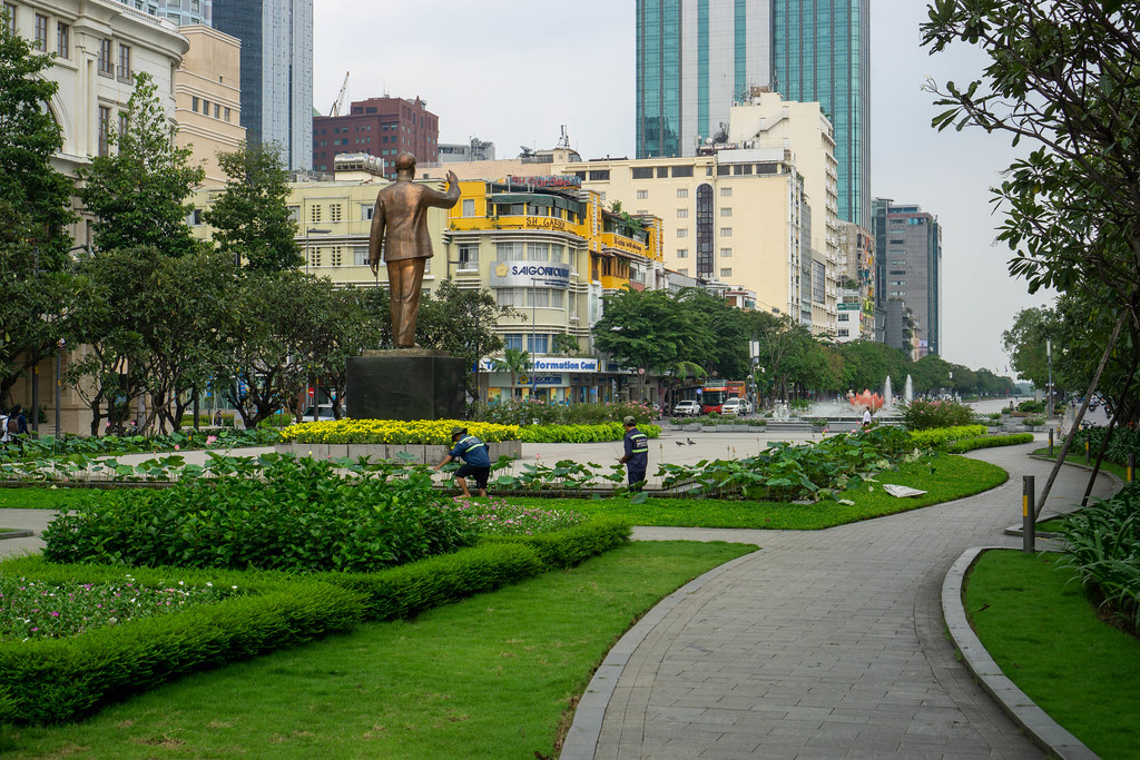 Nguyen Hue Walking Street with Ho Chi Minh Statue and Garden in Saigon, Vietnam