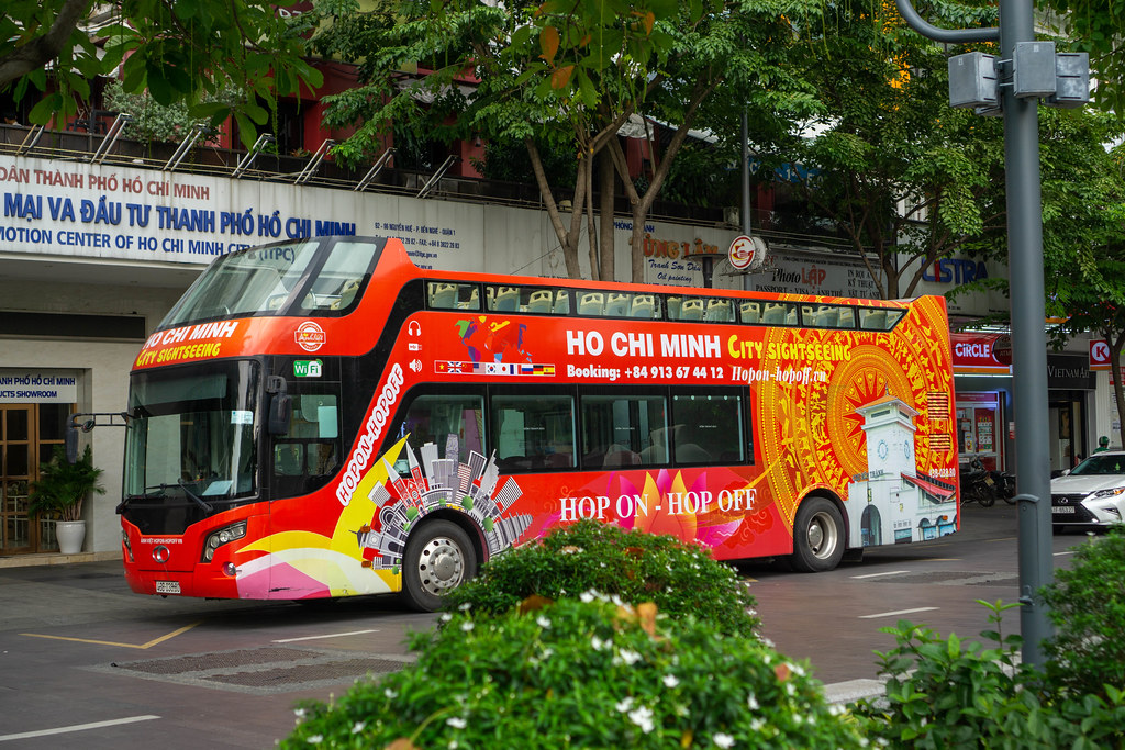Hop On Hop Off Ho Chi Minh City Sightseeing Bus at Nguyen Hue Walking Street in Saigon, Vietnam