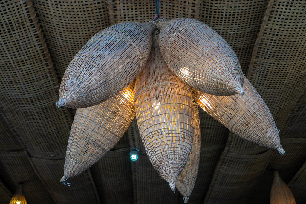 Bamboo Baskets with Light Bulbs as Ceiling Lamps and Decoration in a Restaurant in Ho Chi Minh City, Vietnam
