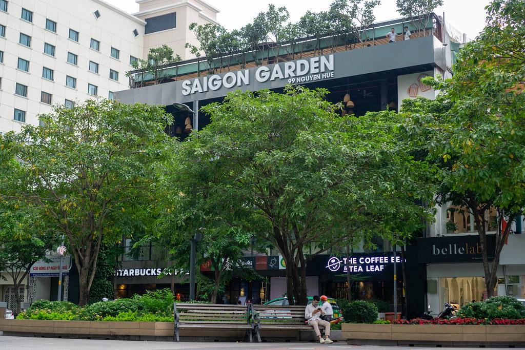 Starbucks Coffee and The Coffee Bean & Tea Leaf under Saigon Garden at Nguyen Hue Walking Street in Ho Chi Minh City, Vietnam