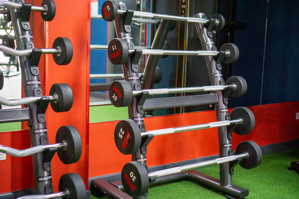 Racks for EZ Curl Barbells and Straight Barbells in different Weights in front of a Mirror in a new Gym