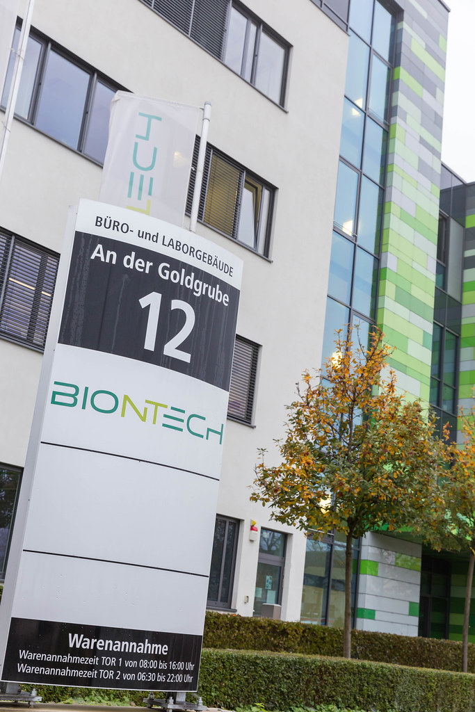 BioNTech Corporate Headquarter Address Signboard with Office and Laboratory Buildings in the Background