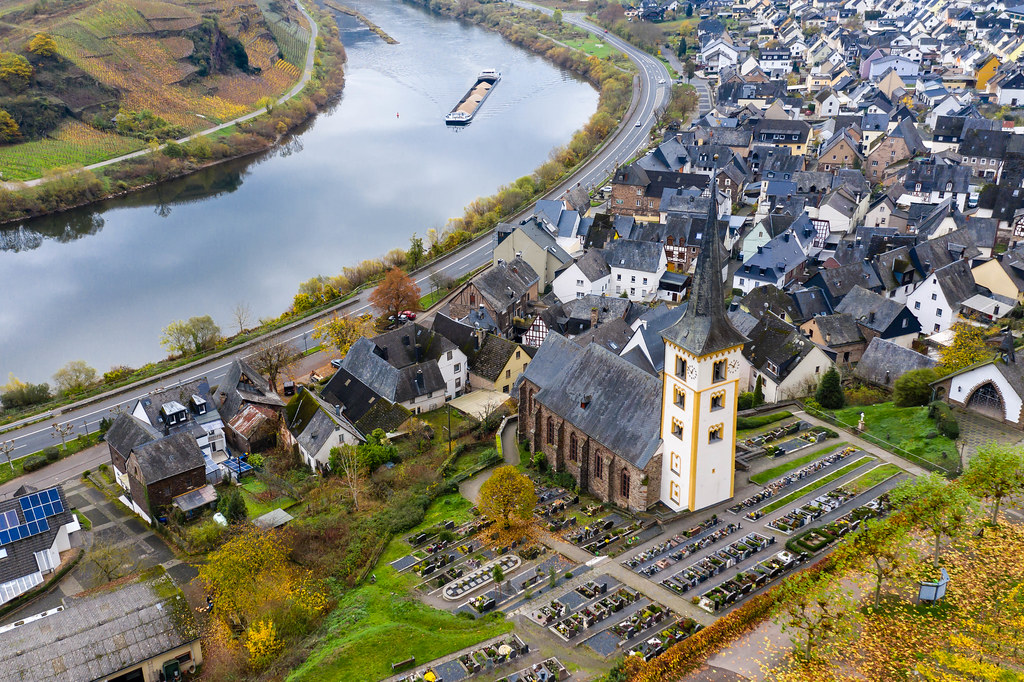 Aerial View of Saint Lawrence Church and Residential Buildings with River Moselle in Municipality Bremm in Rhineland-Palatinate, Germany