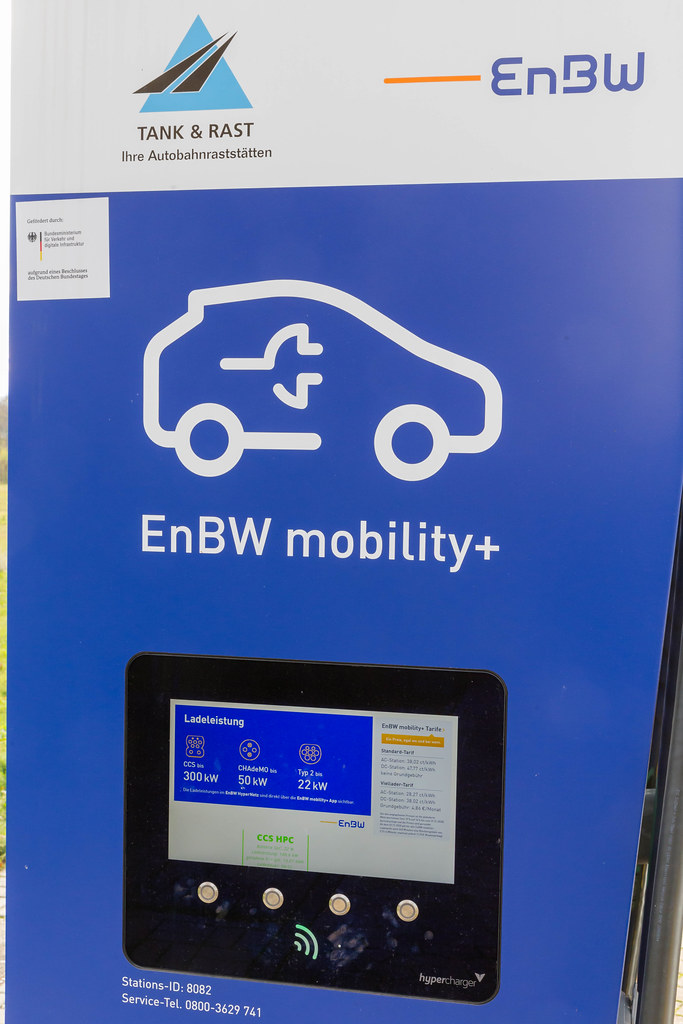 EnBW mobility+ Electric Vehicle Charging Station with Touchscreen at a Rest Stop in Germany