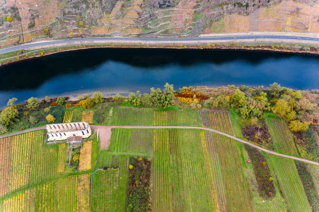 Bird View Drone Photo of Historical Landmark Kloster Ruine Stuben next to River Moselle and Highway B49 near Municipality Bremm in Germany