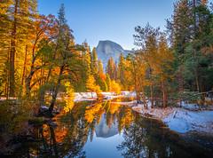Half Dome Autumn Reflections Sentinel Bridge! Yosemite National Park Autumn Colors Fall Foliage Snow Fuji GFX100 Fine Art Landscape Photography! California Fall Colors! Elliot McGucken Master Medium Format Nature Fuji GFX 100 & Fujifilm Fujinon GF Lens!