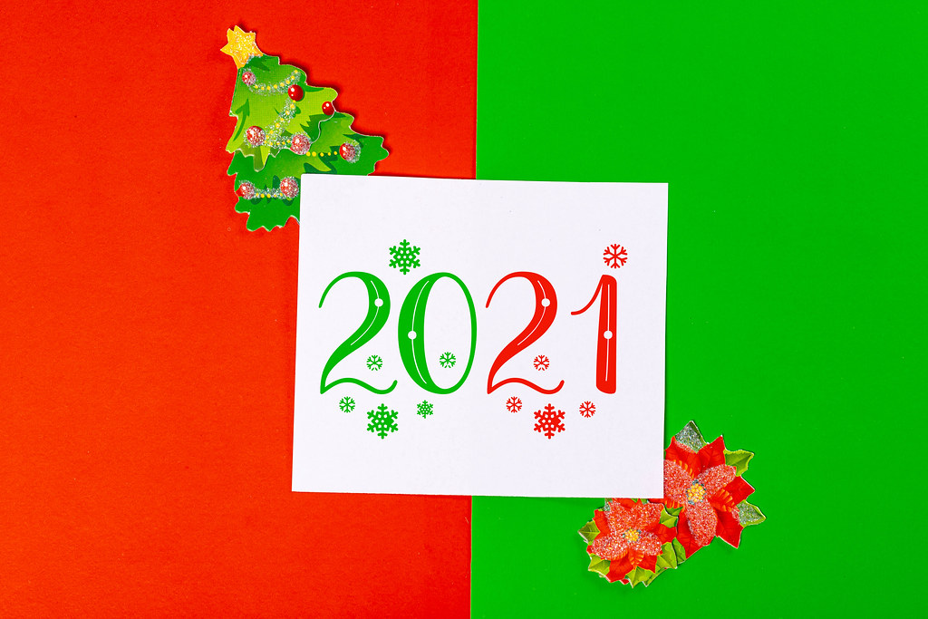 Red-green 2021 new year background