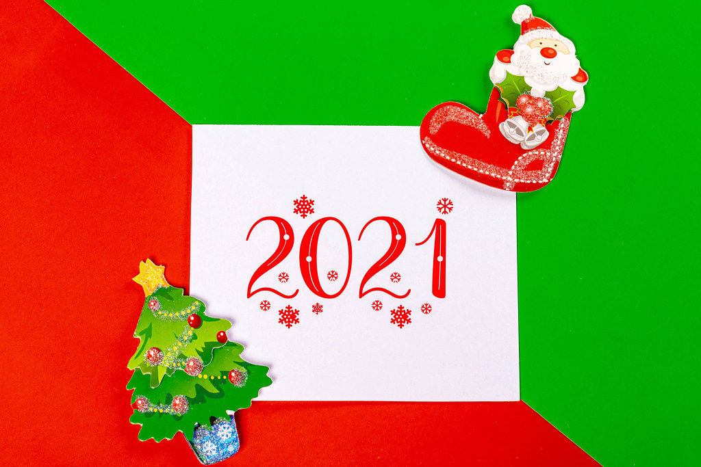 Background for winter holidays with the inscription 2021