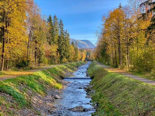 Jennbach creek in autumn near Niederndorf in Tyrol, Austria