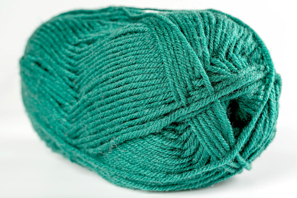 Close-up, green skein of thread for knitting