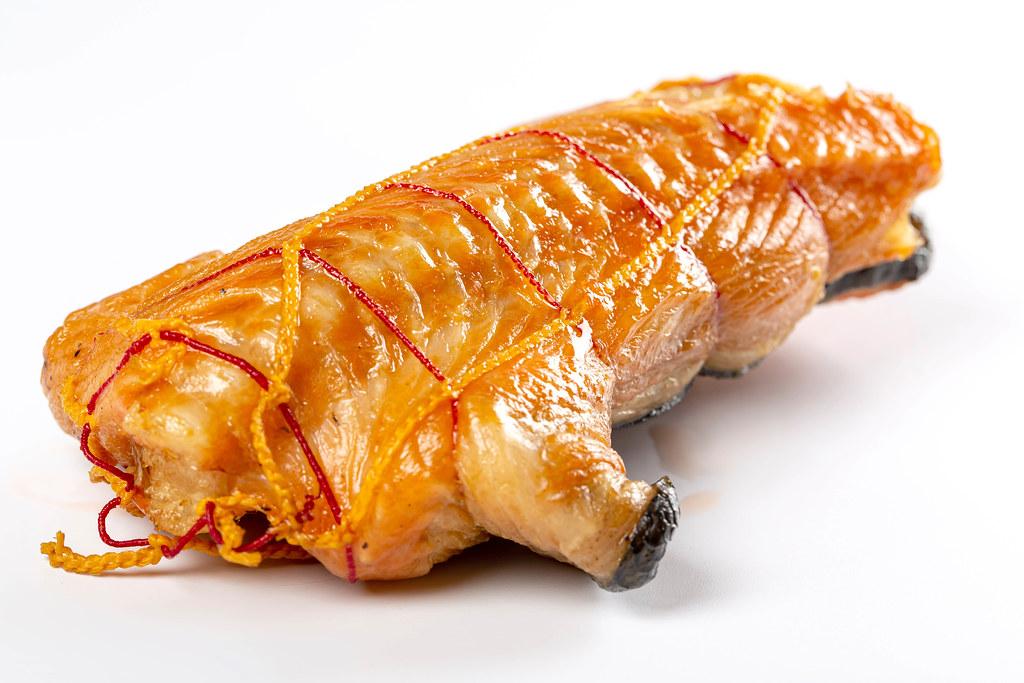 Hot smoked salmon on a white background