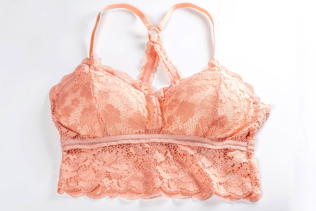 Pink womens bra with lace