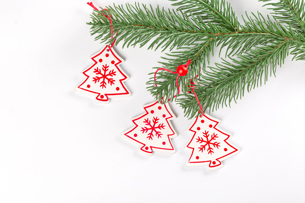 Tree branch with Christmas wooden decor