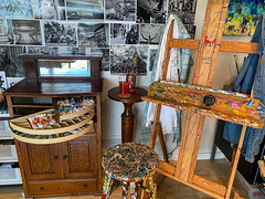 My art studio with a vintage dentist cabinet
