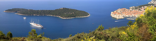 Astonishing panorama view on Dubrovnik and Lokrum island
