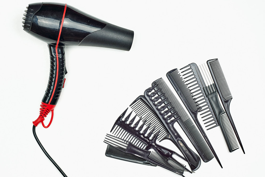 Different type of combs and hairdryer