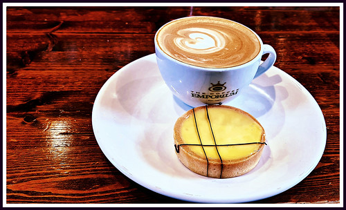 Flat white coffee and lemon tart