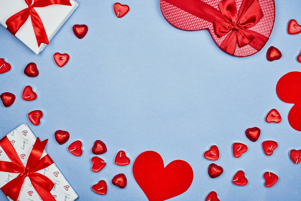Valentine's day background with sweet gift boxes