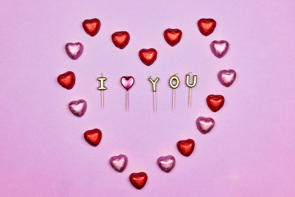 I love you - placed in sweet candy heart shape