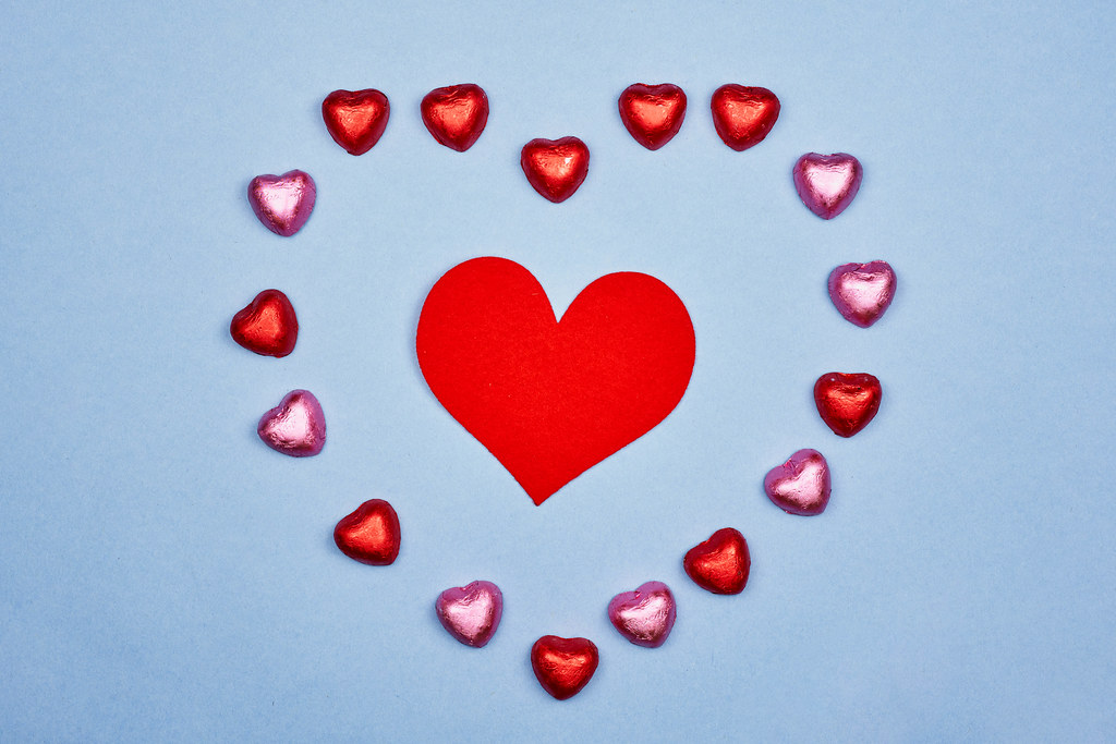 Sweet heart-shaped chocolates