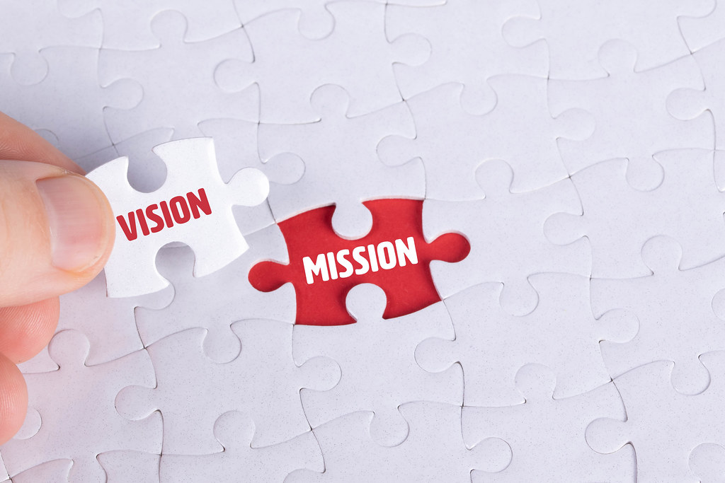 Hand holding piece of jigsaw puzzle with word vision & mission