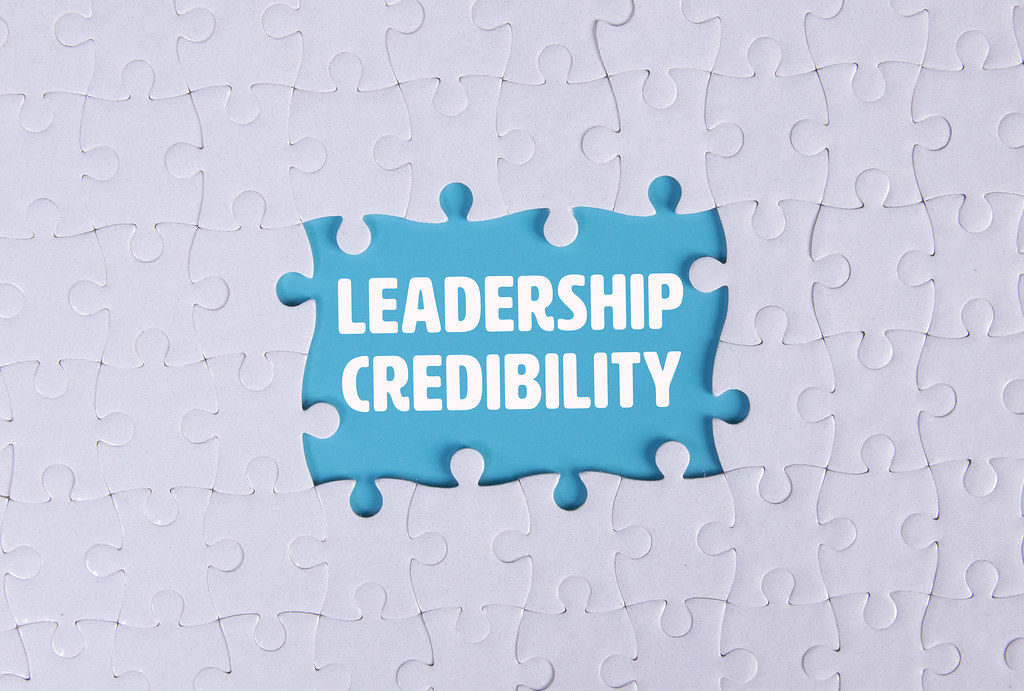 Missing puzzle pieces with Leadership Credibility text