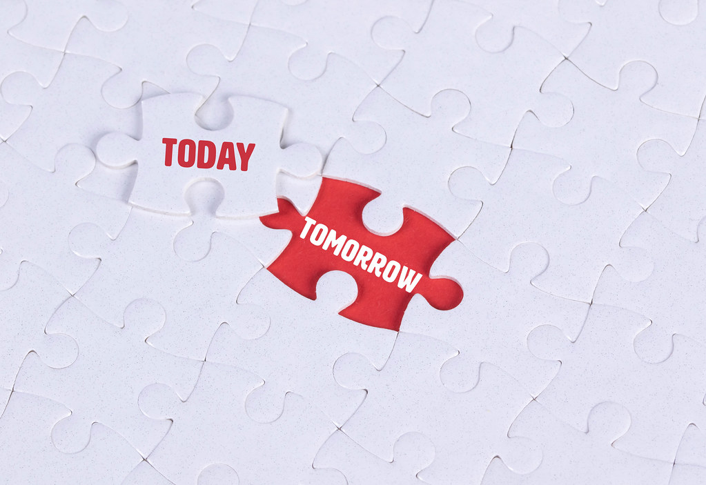 White puzzle with word Today & Tomorrow