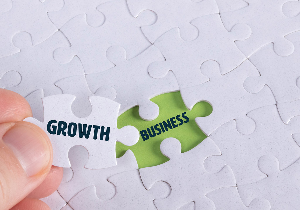 Hand holding piece of jigsaw puzzle with word growth & business
