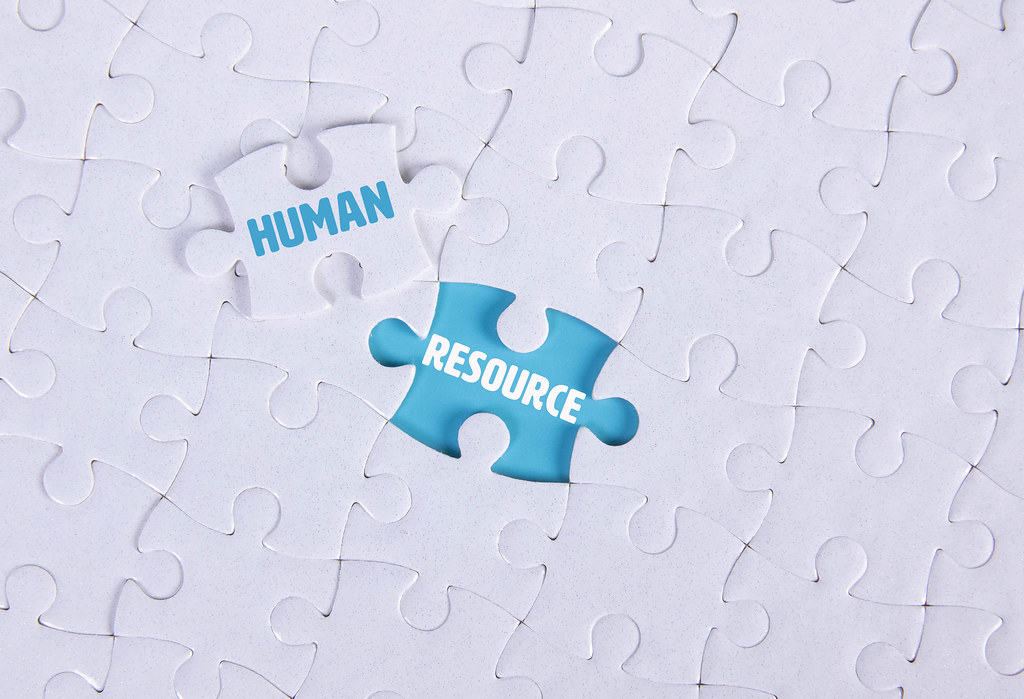 White puzzle with word Human & Resource