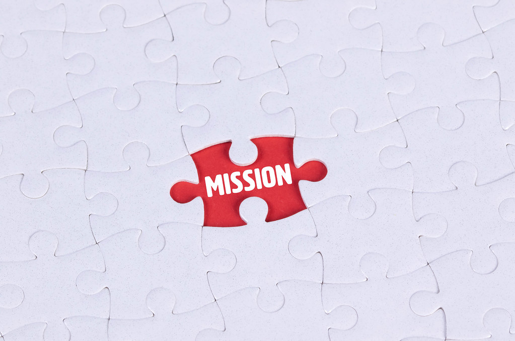 Missing puzzle piece with Mission text