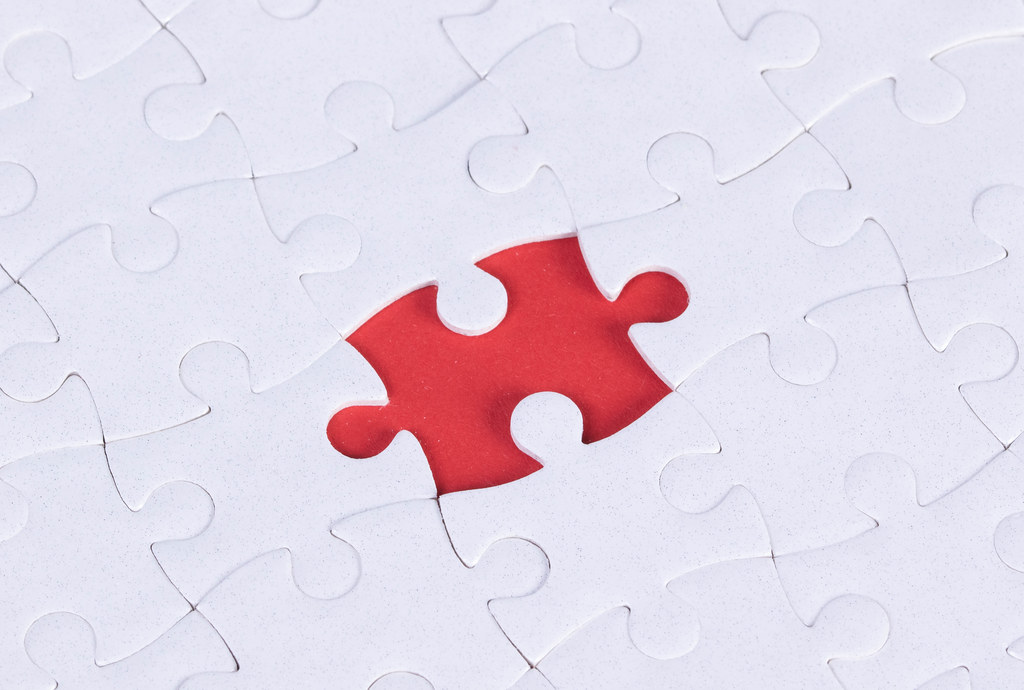 Jigsaw puzzle with missing fragment