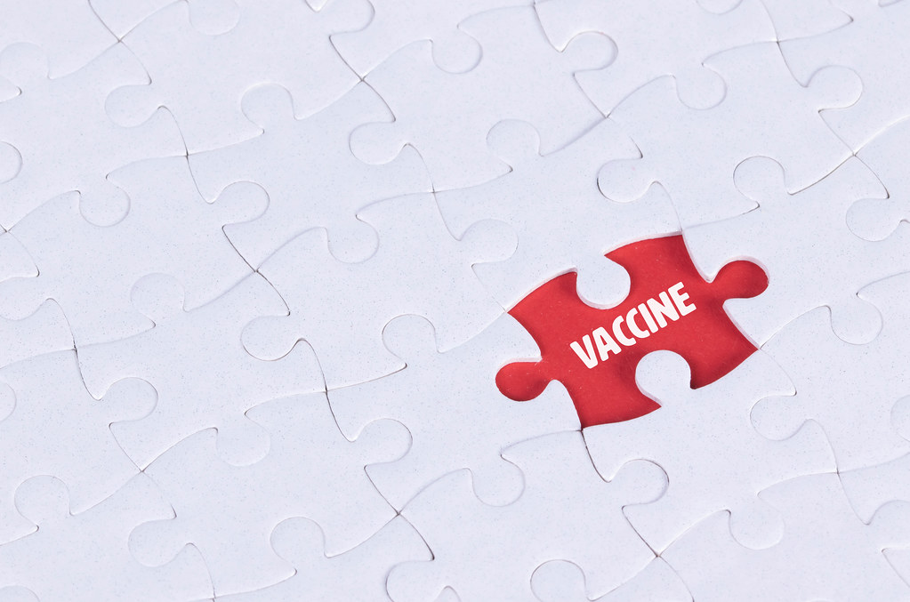 Missing puzzle piece with Vaccine text