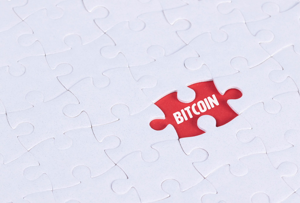 Missing puzzle piece with Bitcoin text